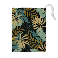 Fashionable Seamless Tropical Pattern With Bright Red Blue Plants Leaves Drawstring Pouch (xl) by Wegoenart