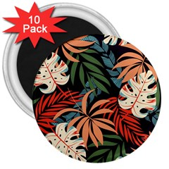 Fashionable Seamless Tropical Pattern With Bright Pink Yellow Plants Leaves 3  Magnets (10 Pack)  by Wegoenart