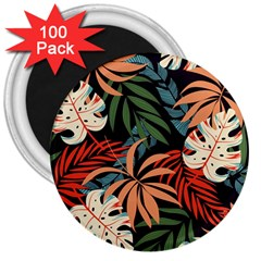 Fashionable Seamless Tropical Pattern With Bright Pink Yellow Plants Leaves 3  Magnets (100 Pack)