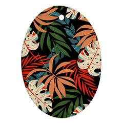Fashionable Seamless Tropical Pattern With Bright Pink Yellow Plants Leaves Oval Ornament (two Sides)