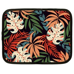 Fashionable Seamless Tropical Pattern With Bright Pink Yellow Plants Leaves Netbook Case (xl) by Wegoenart