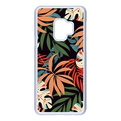 Fashionable Seamless Tropical Pattern With Bright Pink Yellow Plants Leaves Samsung Galaxy S9 Seamless Case(white)