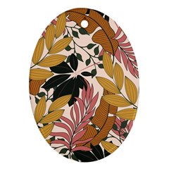 Fashionable Seamless Tropical Pattern With Bright Pink Green Flowers Oval Ornament (two Sides) by Wegoenart
