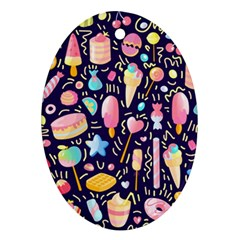 Cute Seamless Pattern With Colorful Sweets Cakes Lollipops Oval Ornament (two Sides) by Wegoenart