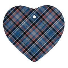 Tartan Scotland Seamless Plaid Pattern Vintage Check Color Square Geometric Texture Heart Ornament (two Sides)