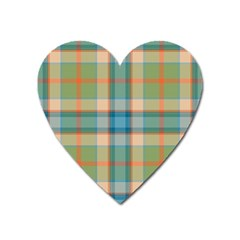 Tartan Scotland Seamless Plaid Pattern Vintage Check Color Square Geometric Texture Heart Magnet by Wegoenart
