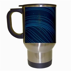Abstract Glowing Blue Wave Lines Pattern With Particles Elements Dark Background Travel Mugs (white)