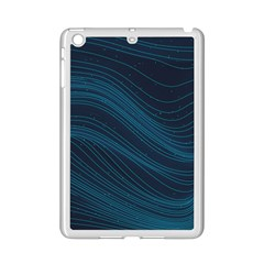 Abstract Glowing Blue Wave Lines Pattern With Particles Elements Dark Background Ipad Mini 2 Enamel Coated Cases by Wegoenart