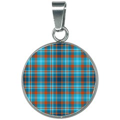 Tartan Scotland Seamless Plaid Pattern Vintage Check Color Square Geometric Texture 20mm Round Necklace