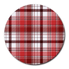 Red Abstract Check Textile Seamless Pattern Round Mousepads