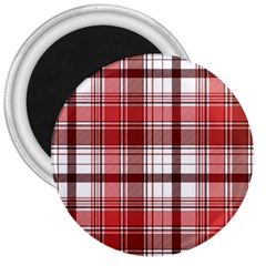 Red Abstract Check Textile Seamless Pattern 3  Magnets