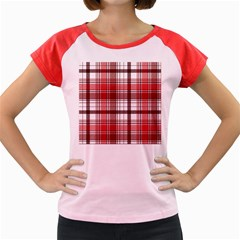 Red Abstract Check Textile Seamless Pattern Women s Cap Sleeve T Shirt