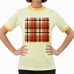 Red Abstract Check Textile Seamless Pattern Women s Fitted Ringer T Shirt