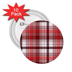 Red Abstract Check Textile Seamless Pattern 2 25  Buttons (10 Pack)