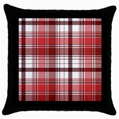 Red Abstract Check Textile Seamless Pattern Throw Pillow Case (black)