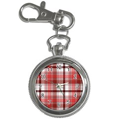 Red Abstract Check Textile Seamless Pattern Key Chain Watches