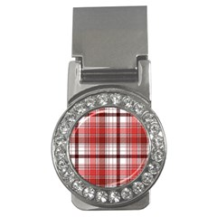 Red Abstract Check Textile Seamless Pattern Money Clips (cz)