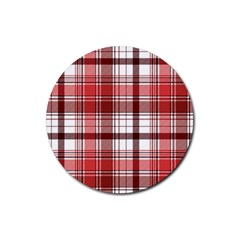 Red Abstract Check Textile Seamless Pattern Rubber Round Coaster (4 Pack)