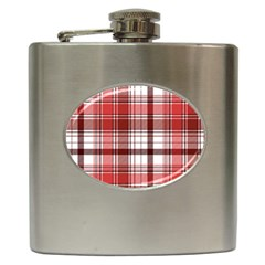 Red Abstract Check Textile Seamless Pattern Hip Flask (6 Oz)