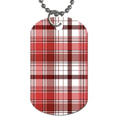 Red Abstract Check Textile Seamless Pattern Dog Tag (two Sides)