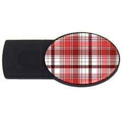 Red Abstract Check Textile Seamless Pattern Usb Flash Drive Oval (2 Gb)