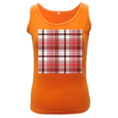 Red Abstract Check Textile Seamless Pattern Women s Dark Tank Top