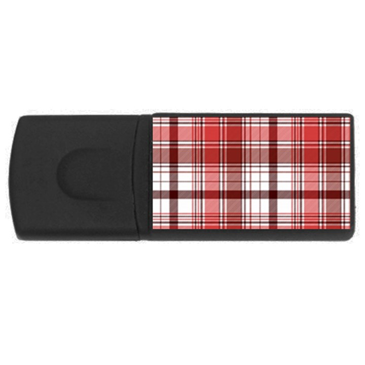 Red Abstract Check Textile Seamless Pattern Rectangular USB Flash Drive