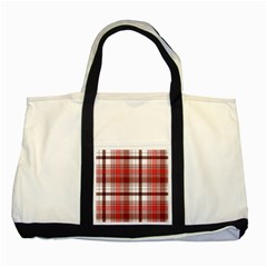 Red Abstract Check Textile Seamless Pattern Two Tone Tote Bag