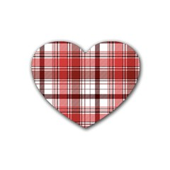 Red Abstract Check Textile Seamless Pattern Heart Coaster (4 Pack)