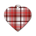 Red Abstract Check Textile Seamless Pattern Dog Tag Heart (One Side) Front