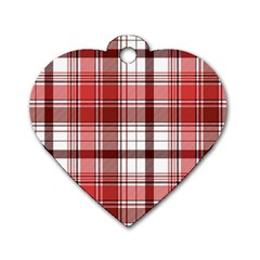 Red Abstract Check Textile Seamless Pattern Dog Tag Heart (two Sides)