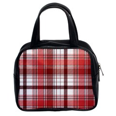 Red Abstract Check Textile Seamless Pattern Classic Handbag (two Sides)