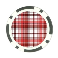 Red Abstract Check Textile Seamless Pattern Poker Chip Card Guard (10 Pack)