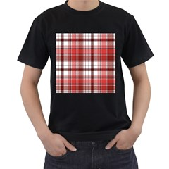 Red Abstract Check Textile Seamless Pattern Men s T Shirt (black)