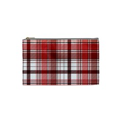 Red Abstract Check Textile Seamless Pattern Cosmetic Bag (small)