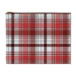 Red Abstract Check Textile Seamless Pattern Cosmetic Bag (XL) Front