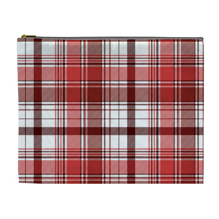 Red Abstract Check Textile Seamless Pattern Cosmetic Bag (XL)