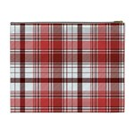 Red Abstract Check Textile Seamless Pattern Cosmetic Bag (XL) Back