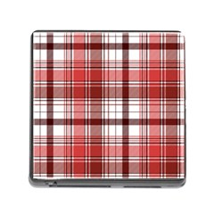 Red Abstract Check Textile Seamless Pattern Memory Card Reader (square 5 Slot)