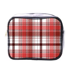 Red Abstract Check Textile Seamless Pattern Mini Toiletries Bag (one Side)