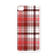 Red Abstract Check Textile Seamless Pattern Iphone 4 Case (white)