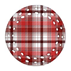Red Abstract Check Textile Seamless Pattern Round Filigree Ornament (two Sides)