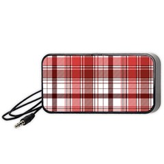Red Abstract Check Textile Seamless Pattern Portable Speaker