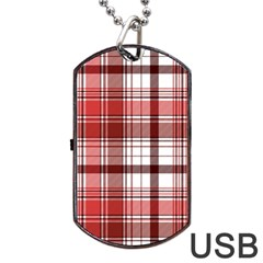 Red Abstract Check Textile Seamless Pattern Dog Tag Usb Flash (two Sides)