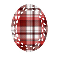 Red Abstract Check Textile Seamless Pattern Oval Filigree Ornament (two Sides)