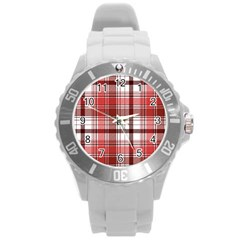 Red Abstract Check Textile Seamless Pattern Round Plastic Sport Watch (l)