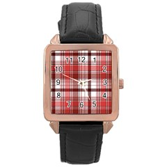 Red Abstract Check Textile Seamless Pattern Rose Gold Leather Watch