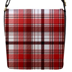 Red Abstract Check Textile Seamless Pattern Flap Closure Messenger Bag (s)