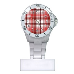 Red Abstract Check Textile Seamless Pattern Plastic Nurses Watch