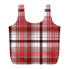Red Abstract Check Textile Seamless Pattern Full Print Recycle Bag (l)